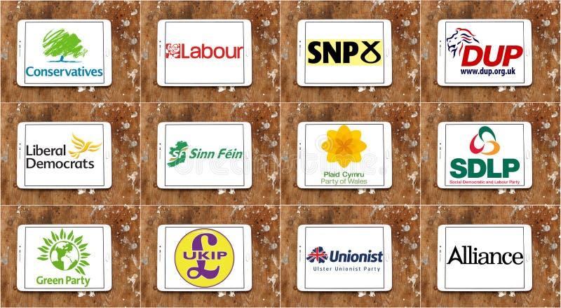 Λογότυπα και εικονίδια βρετανικών κοινοβουλευτικά πολιτικά κομμάτων απεικόνιση αποθεμάτων