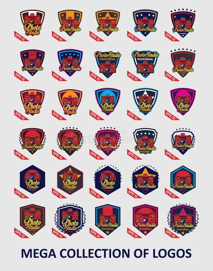 Λογότυπα καμερών Σύνολο 30 διακριτικών καμερών για την επιχείρησή σας Πρότυπα σύγχρονου σχεδίου για το κατάστημά σας απεικόνιση αποθεμάτων