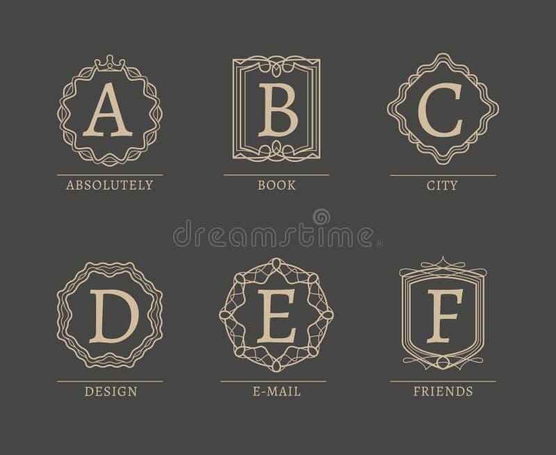 Λογότυπα μονογραμμάτων ελεύθερη απεικόνιση δικαιώματος
