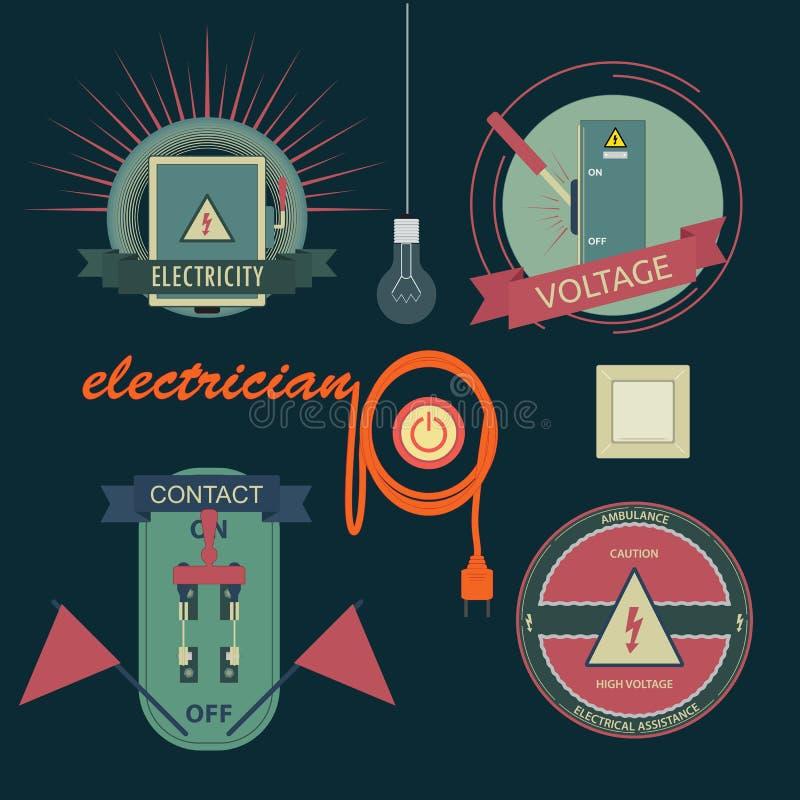 Λογότυπα του ηλεκτρικού εξοπλισμού διανυσματική απεικόνιση