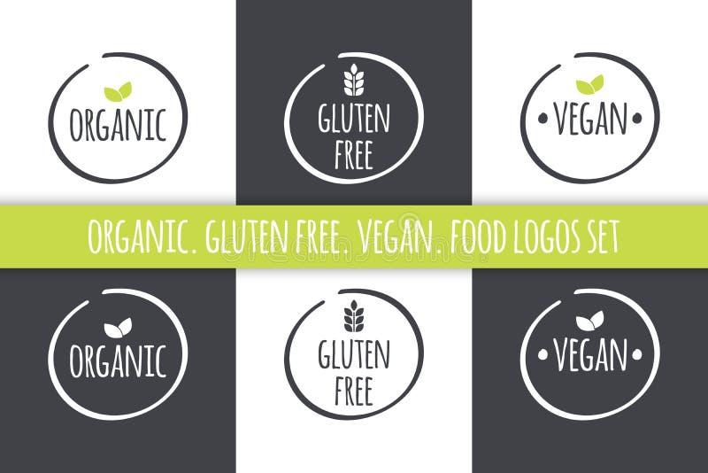 Λογότυπα τροφίμων καθορισμένα Οργανικές ετικέτες Vegan γλουτένης ελεύθερες Διανυσματικά γκρίζα άσπρα σύμβολα με τα πράσινα φύλλα διανυσματική απεικόνιση
