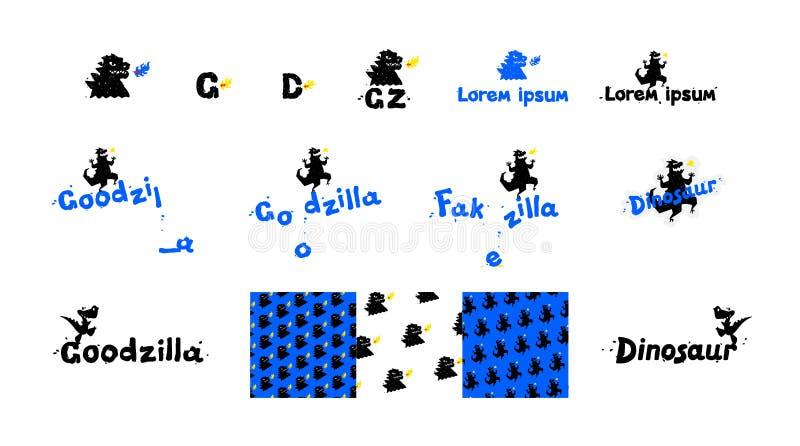 Λογότυπα των δεινοσαύρων, των δράκων και των σαυρών r Ένα σύνολο αστείων ετικετών με τα ζώα ελεύθερη απεικόνιση δικαιώματος