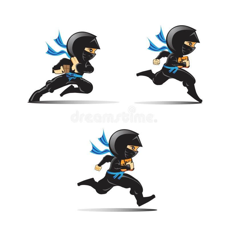 Λογότυπα Ninja καθορισμένα Εικονίδια αγγελιαφόρων Ninja ελεύθερη απεικόνιση δικαιώματος