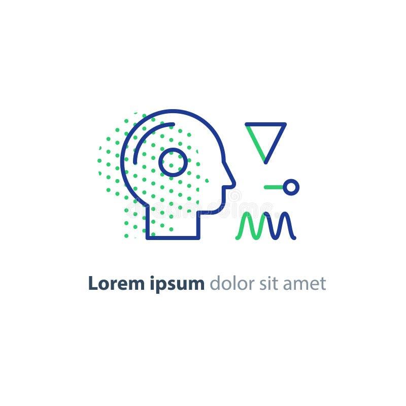 Λογότυπο έννοιας εκπαίδευσης, ανθρώπινο επικεφαλής εικονίδιο, ψυχολογία και νευρολογία διανυσματική απεικόνιση