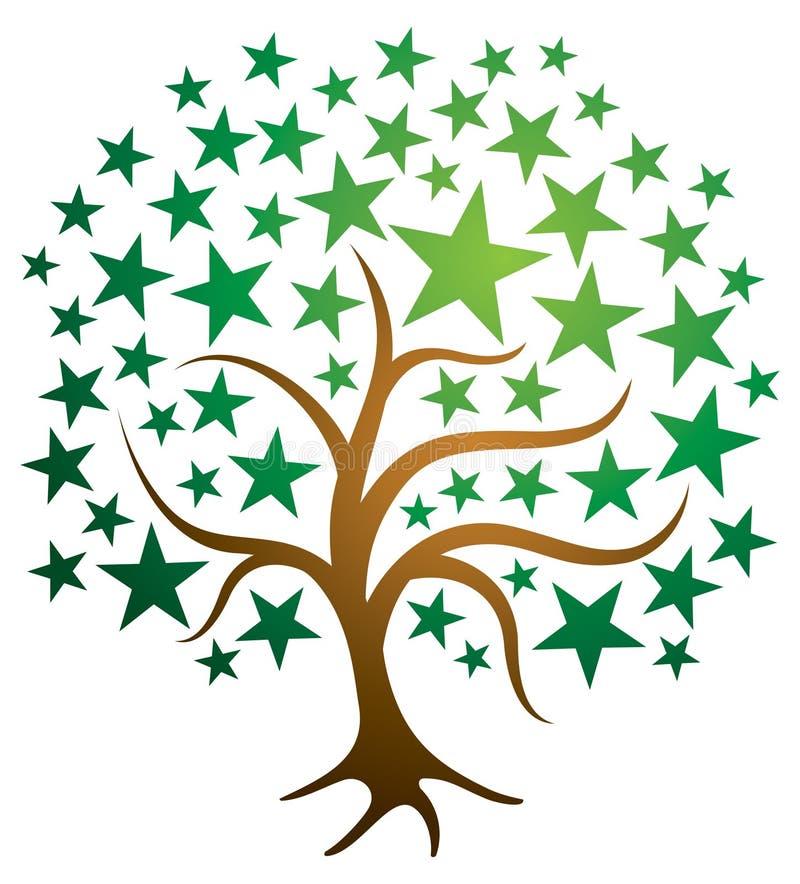Λογότυπο δέντρων αστεριών ελεύθερη απεικόνιση δικαιώματος