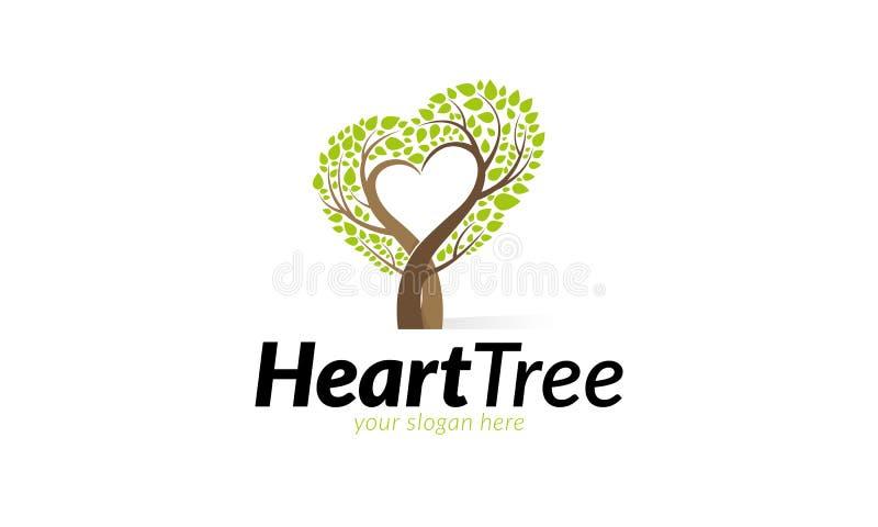 Λογότυπο δέντρων καρδιών διανυσματική απεικόνιση