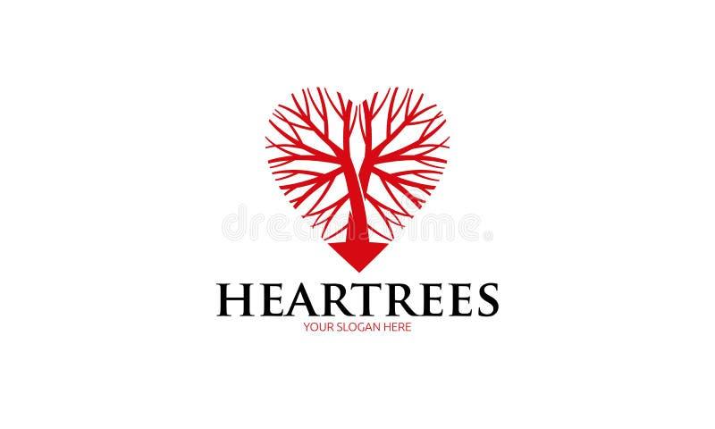 Λογότυπο δέντρων καρδιών ελεύθερη απεικόνιση δικαιώματος