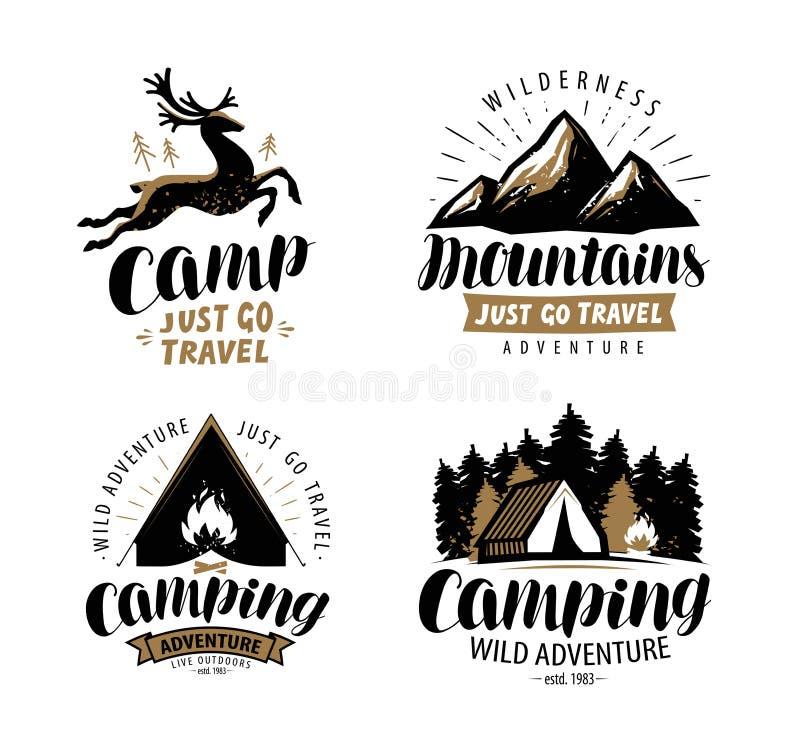Λογότυπο ή ετικέτα εκστρατείας Ταξίδι πεζοπορίας, σύνολο εικονιδίων πεζοπορώ Τυπογραφικό διάνυσμα σχεδίου ελεύθερη απεικόνιση δικαιώματος