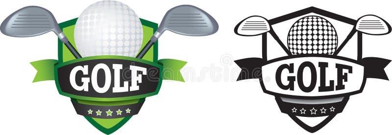 Λογότυπο ή διακριτικό γκολφ, ασπίδα ή μαρκάρισμα διανυσματική απεικόνιση