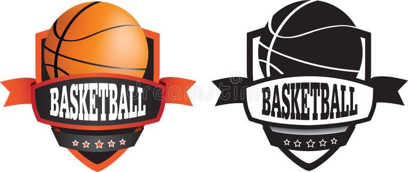 Λογότυπο ή διακριτικό καλαθοσφαίρισης, ασπίδα ή μαρκάρισμα απεικόνιση αποθεμάτων