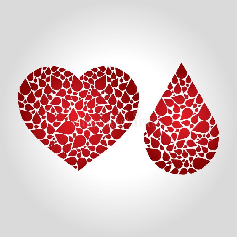 Λογότυπο αίματος καρδιών ελεύθερη απεικόνιση δικαιώματος