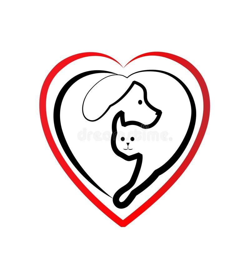 Λογότυπο αγάπης σκυλιών και γατών διανυσματική απεικόνιση