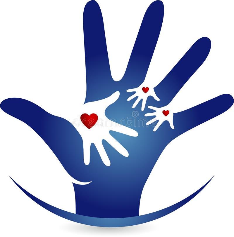 Λογότυπο αγάπης χεριών διανυσματική απεικόνιση