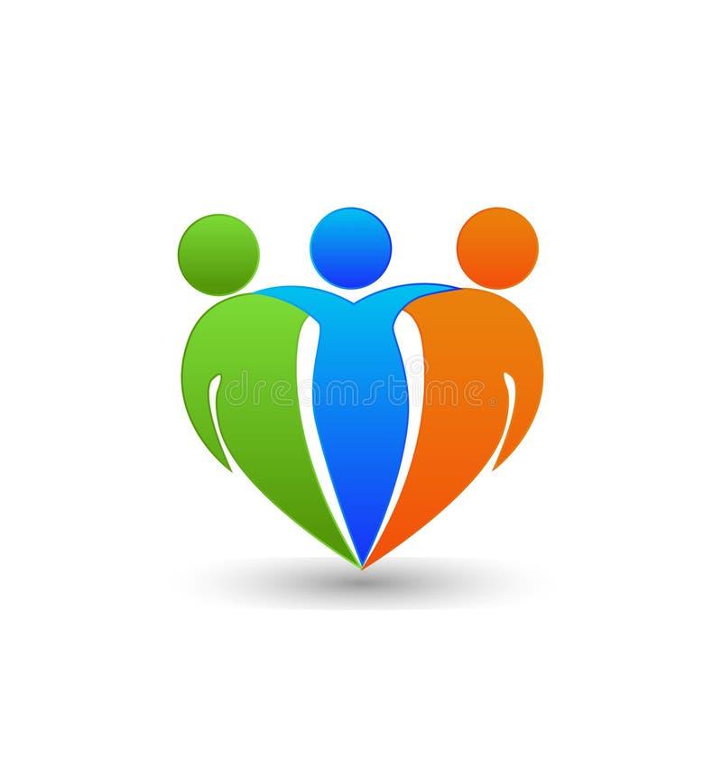 Λογότυπο αγκαλιάσματος ομαδικής εργασίας διανυσματική απεικόνιση