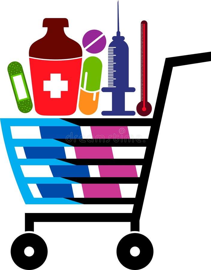 Λογότυπο αγορών ιατρικής διανυσματική απεικόνιση