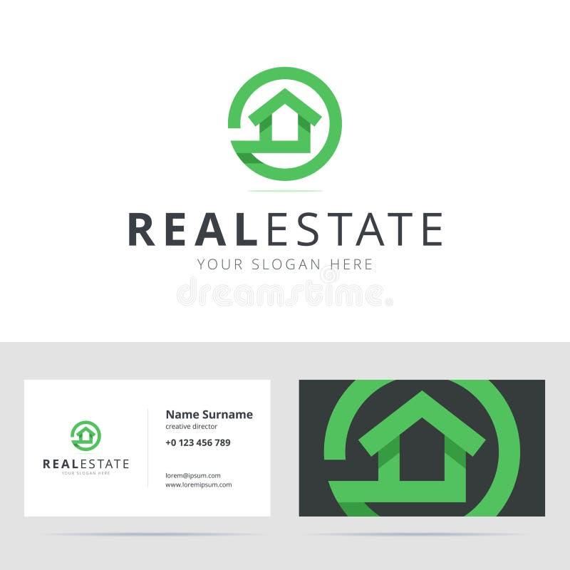 Λογότυπο ακίνητων περιουσιών και πρότυπο επαγγελματικών καρτών ελεύθερη απεικόνιση δικαιώματος