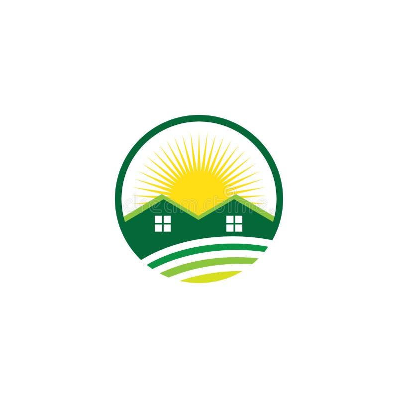 Λογότυπο ακίνητων περιουσιών σπιτιών ήλιων κύκλων επιχειρησιακό ελεύθερη απεικόνιση δικαιώματος