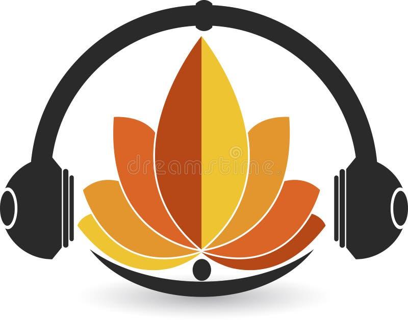 Λογότυπο ακουστικών λουλουδιών ελεύθερη απεικόνιση δικαιώματος