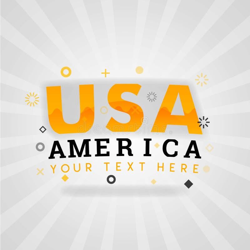 Λογότυπο ΑΜΕΡΙΚΑΝΙΚΟΥ Αμερική γραψίματος για τις φτηνές συνταγές εύκολου Αμερικανού διανυσματική απεικόνιση