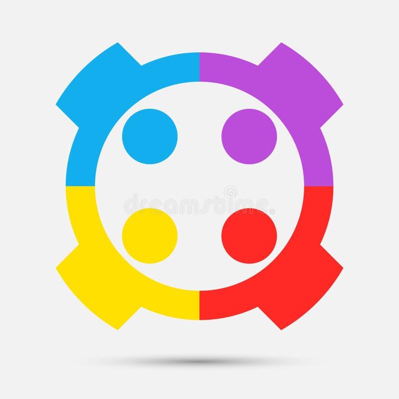 λογότυπο ανθρώπων αιθουσών συνεδριάσεων ομάδα τεσσάρων ατόμων στον κύκλο, διανυσματική απεικόνιση διανυσματική απεικόνιση