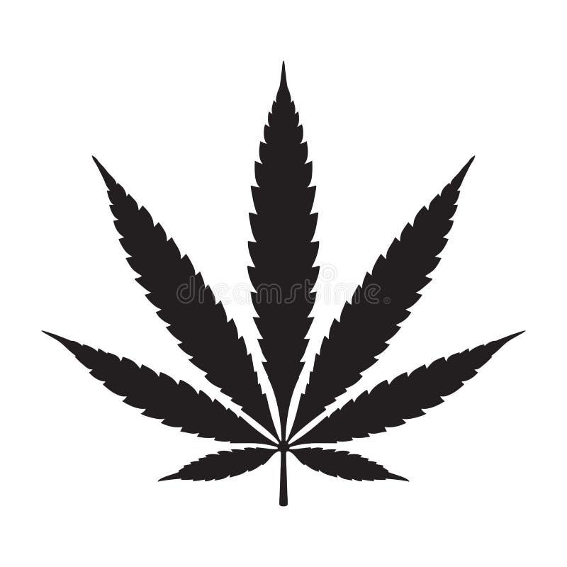 Λογότυπο απεικόνισης εικονιδίων φύλλων καννάβεων μαριχουάνα ζιζανίων ελεύθερη απεικόνιση δικαιώματος