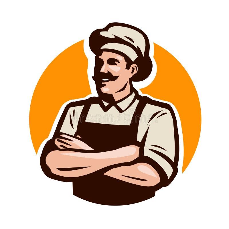 Λογότυπο αρχιμαγείρων, μαγείρων ή αρτοποιών Καφές, εστιατόριο, έννοια επιλογών η αλλοδαπή γάτα κινούμενων σχεδίων δραπετεύει το δ απεικόνιση αποθεμάτων