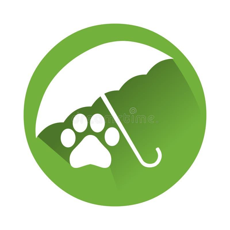 Λογότυπο ασφαλιστικών εικονιδίων της Pet Διανυσματική απεικόνιση του ζωικού ίχνους διανυσματική απεικόνιση