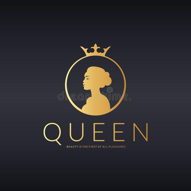 Λογότυπο βασίλισσας κάστρο kalmar Σουηδία Διανυσματικό σχέδιο λογότυπων για το σαλόνι ομορφιάς, κομμωτήριο, καλλυντικό διανυσματική απεικόνιση