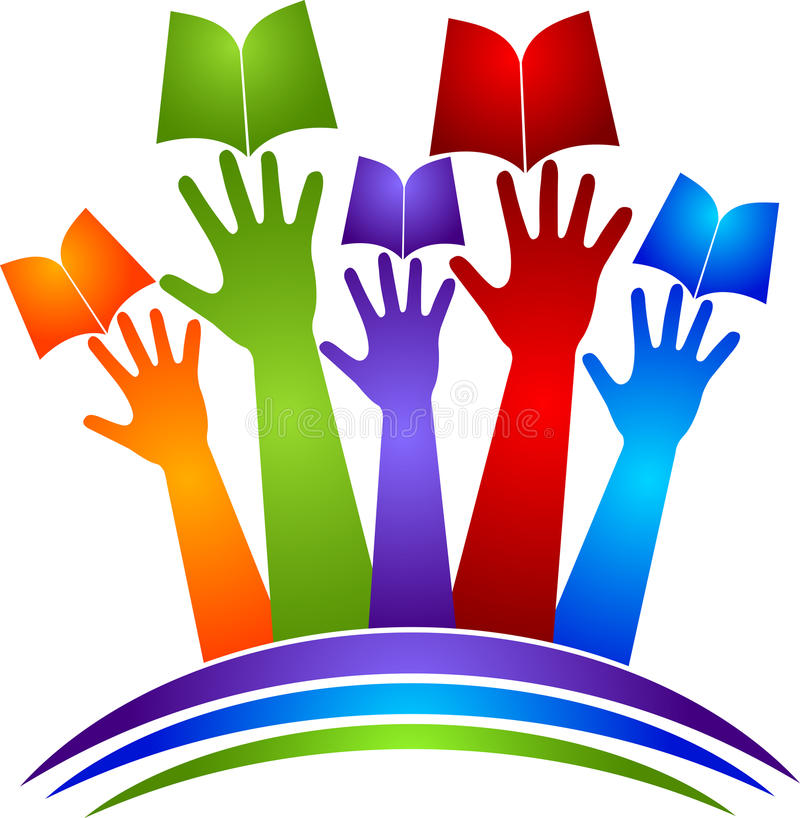 Λογότυπο βιβλίων χεριών ελεύθερη απεικόνιση δικαιώματος
