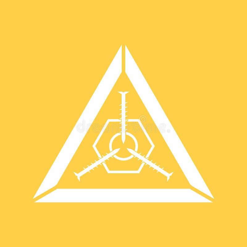 Λογότυπο βιδών Σύνδεσμοι, βίδες, αγαθά για την επισκευή Σκιαγραφία τριών βιδών και ένα καρύδι σε ένα τρίγωνο ελεύθερη απεικόνιση δικαιώματος