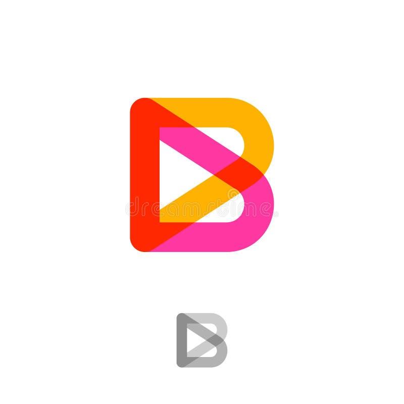 Λογότυπο Β Μονόγραμμα Β Ρόδινη και κίτρινη διαφανής επιστολή Λογότυπο κτηρίου ή οικοδόμησης απεικόνιση αποθεμάτων