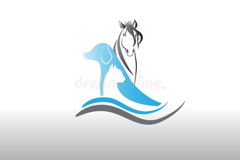 Λογότυπο γατών και αλόγων σκυλιών διανυσματική απεικόνιση