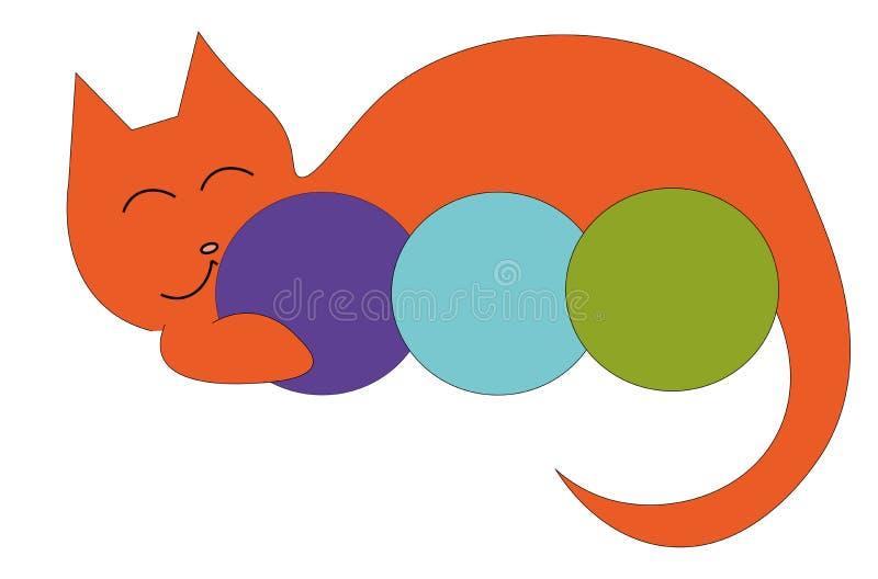 Λογότυπο γατών και νημάτων διανυσματική απεικόνιση