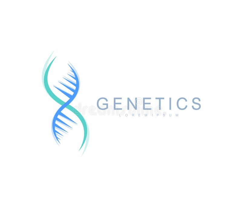 Λογότυπο γενετικής επιστήμης, έλικας DNA Γενετική ανάλυση, DNA κώδικα ερευνητικών βιοτεχνολογιών Χρωμόσωμα γονιδιώματος βιοτεχνολ απεικόνιση αποθεμάτων