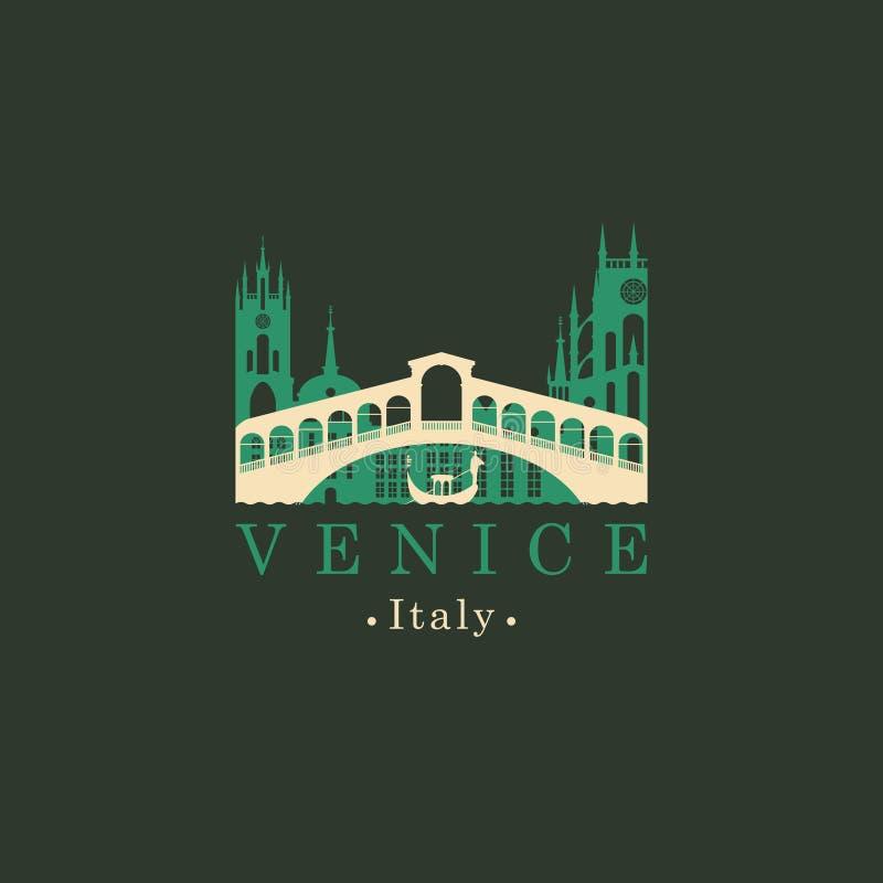 Λογότυπο γεφυρών Rialto Αρχιτεκτονικό ορόσημο της Βενετίας διανυσματική απεικόνιση
