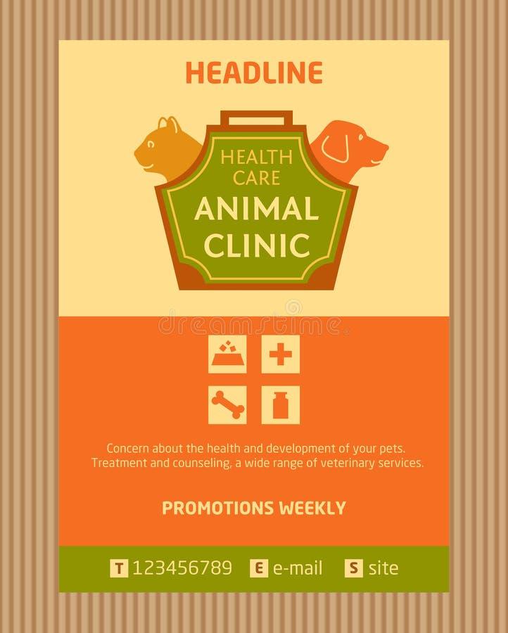 Λογότυπο για τη ζωική κλινική Φυλλάδιο, σχέδιο ιπτάμενων ελεύθερη απεικόνιση δικαιώματος