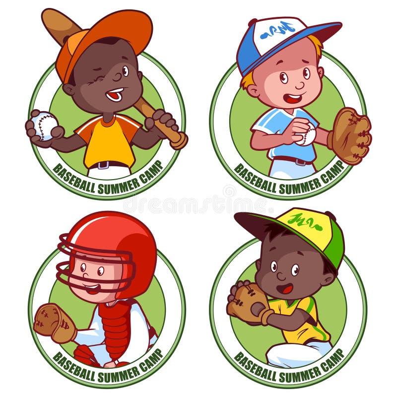 Λογότυπο για το καλοκαίρι μπέιζ-μπώλ παιδιών cump διανυσματική απεικόνιση