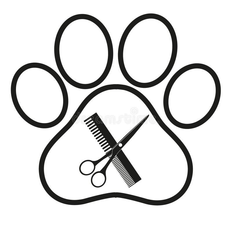 Λογότυπο για το κομμωτήριο σκυλιών, κατάστημα προσδιορισμού και καλλωπισμού, κατάστημα για τα σκυλιά διανυσματική απεικόνιση