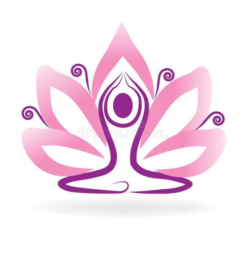 Λογότυπο γιόγκας περισυλλογής λουλουδιών Lotus απεικόνιση αποθεμάτων