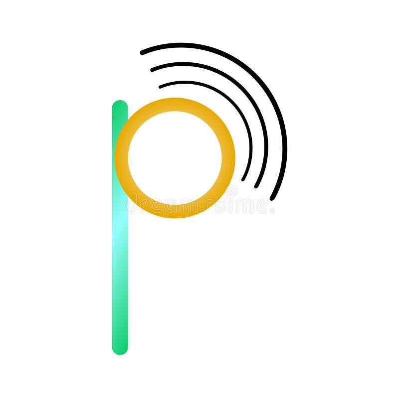 Λογότυπο γραμμάτων π Letterform με το σήμα wifi διανυσματική απεικόνιση