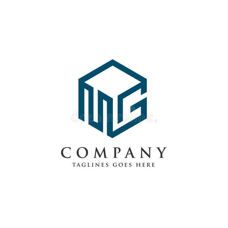 Λογότυπο γραμμάτων MG με το τρισδιάστατο τετραγωνικό λογότυπο διανυσματική απεικόνιση