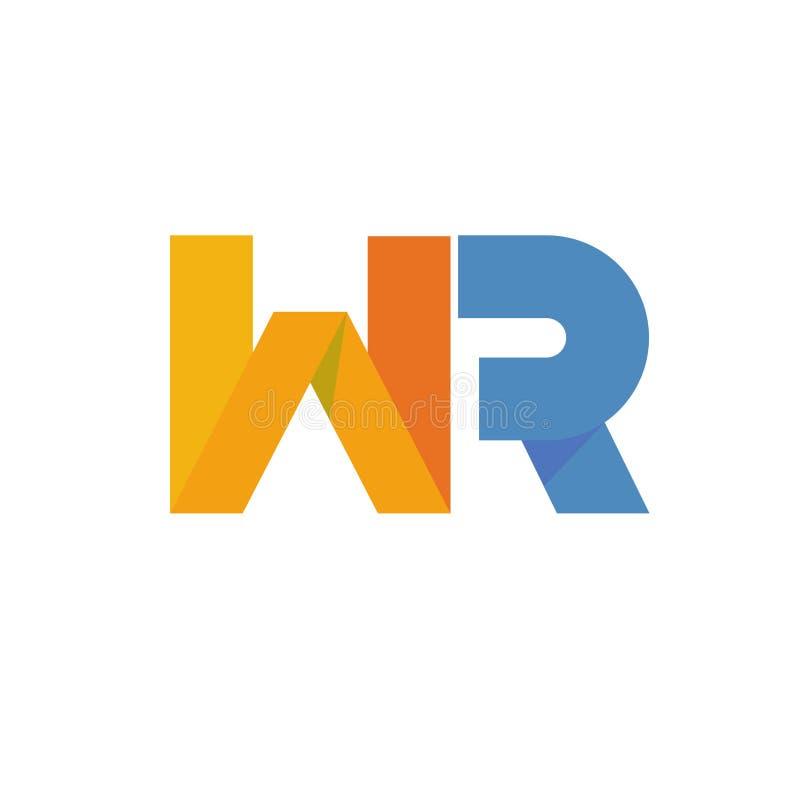 Λογότυπο γραμμάτων WR διανυσματική απεικόνιση