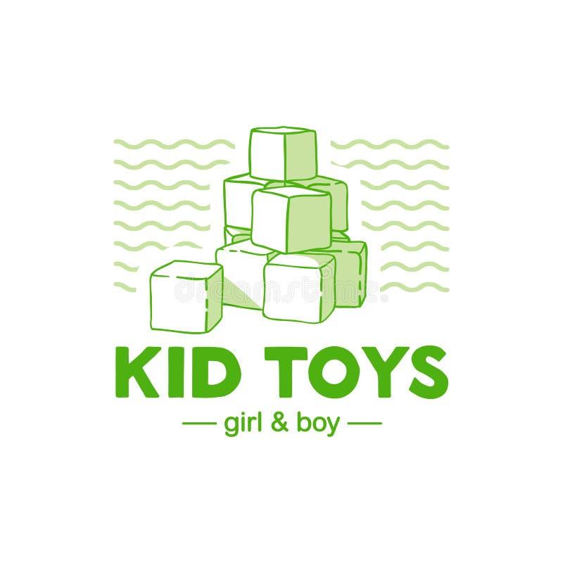 Λογότυπο γραμμών σχεδίου Templae για το κατάστημα μωρών Το σύμβολο, η ετικέτα και το διακριτικό για τα παιδιά ψωνίζουν με τη νεογ ελεύθερη απεικόνιση δικαιώματος