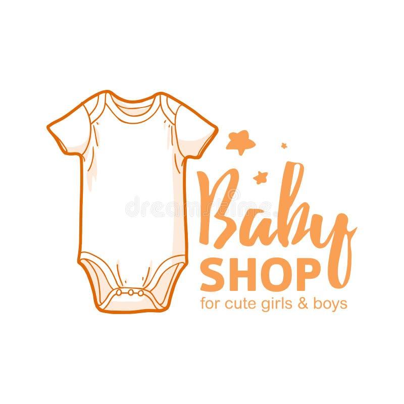 Λογότυπο γραμμών σχεδίου Templae για το κατάστημα μωρών Το σύμβολο, η ετικέτα και το διακριτικό για τα παιδιά ψωνίζουν με τη νεογ απεικόνιση αποθεμάτων