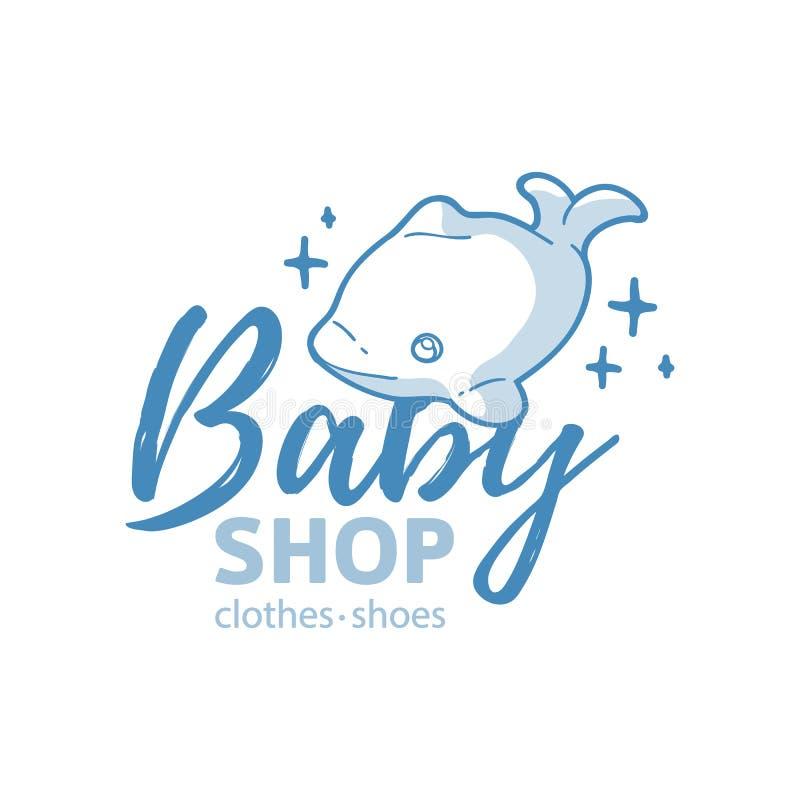 Λογότυπο γραμμών σχεδίου Templae για το κατάστημα μωρών Το σύμβολο, η ετικέτα και το διακριτικό για τα παιδιά ψωνίζουν με τη νεογ διανυσματική απεικόνιση