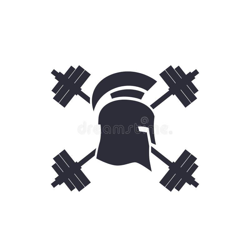 Λογότυπο γυμναστικής, διανυσματικό έμβλημα, λιτό κράνος, barbells ελεύθερη απεικόνιση δικαιώματος