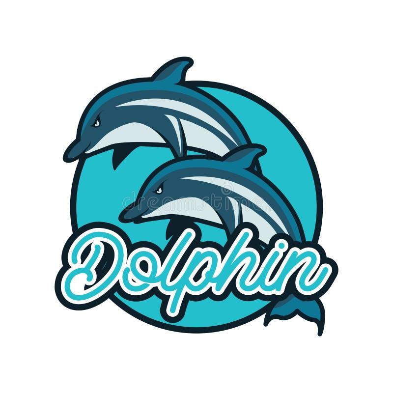 Λογότυπο δελφινιών με το διάστημα κειμένων για το σύνθημα/τη γραμμή ετικεττών σας που απομονώνεται στο άσπρο υπόβαθρο απεικόνιση αποθεμάτων