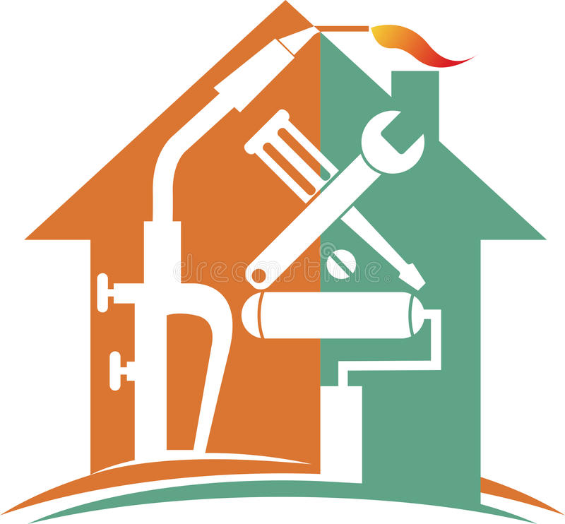 Λογότυπο εγχώριας επισκευής ελεύθερη απεικόνιση δικαιώματος