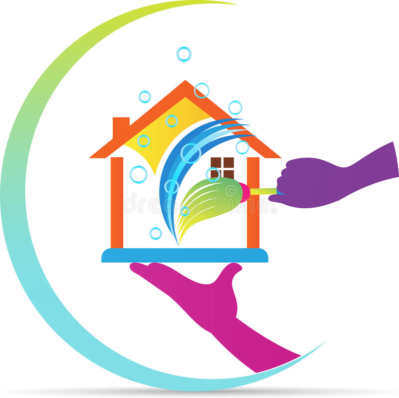 Λογότυπο εγχώριων καθαρίζοντας υπηρεσιών απεικόνιση αποθεμάτων