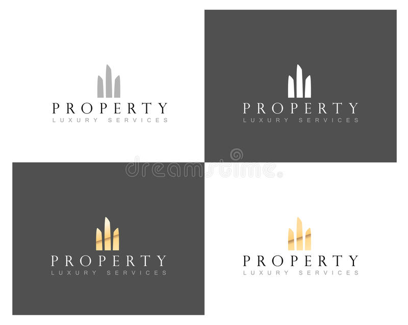 Λογότυπο εγχώριων λογότυπων ακίνητων περιουσιών, ακίνητων περιουσιών και οικοδόμησης κτηρίου, διανυσματικό πρότυπο διανυσματική απεικόνιση